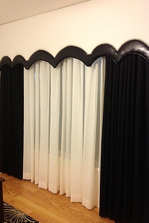 Black and white curtains with cornice boxes