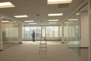 empty office space with open window treatments