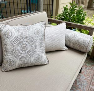 Beautiful custom cushions made with durable Sunbrella fabric