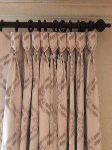 Custom drapery in Dallas featuring pinch pleats