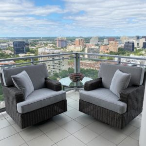 Beautiful outdoor seating area with custom upholstery in Dallas