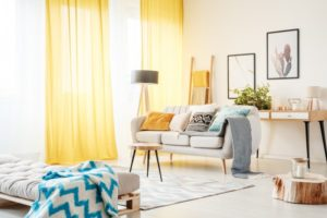 Cheerful yellow curtains in Dallas in bright home